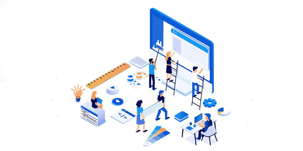 people maintaining website isometric image
