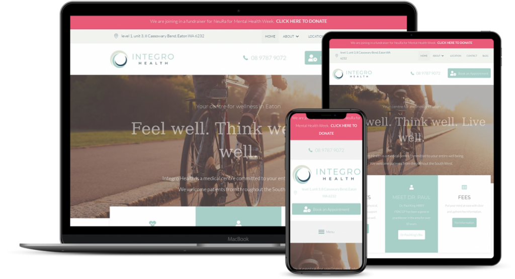 Integro Health Website Mockup